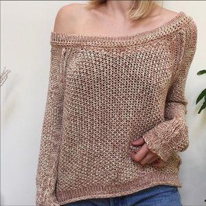 Free People loose knit pink marled sweater